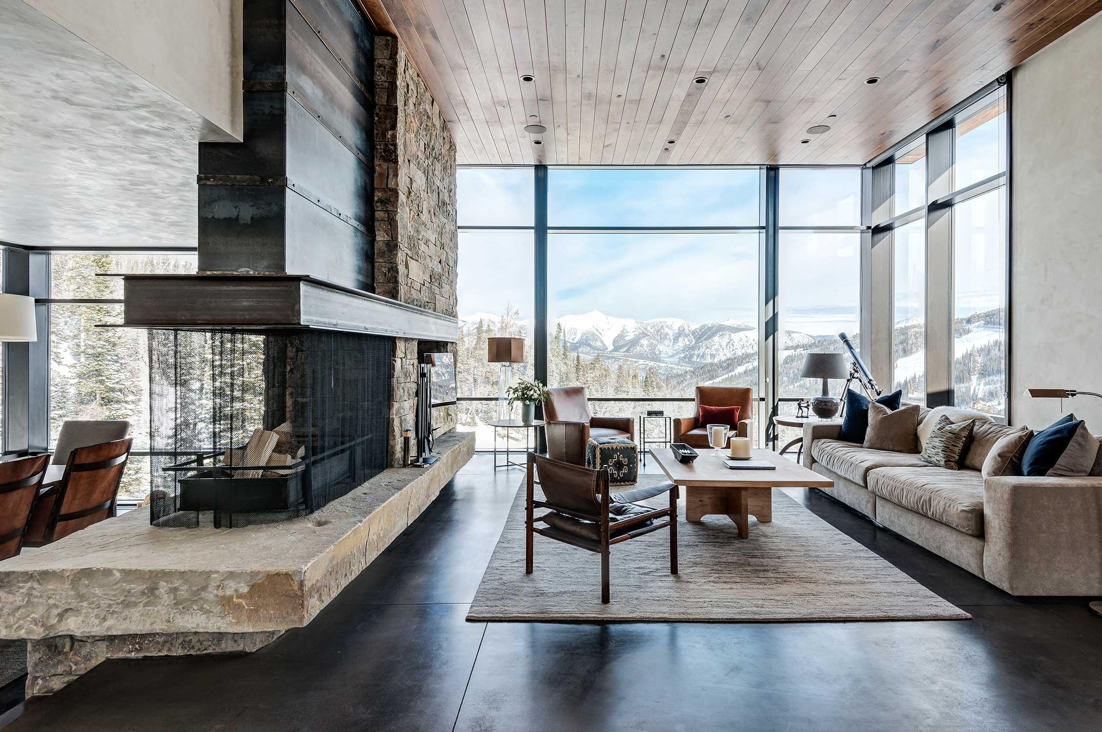 Interior of a modern mountain house